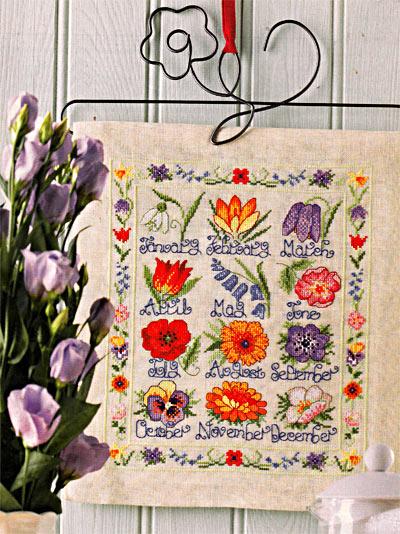 Цветочный сэмплер вышивка