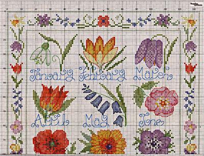 Вышитый цветочный календарь