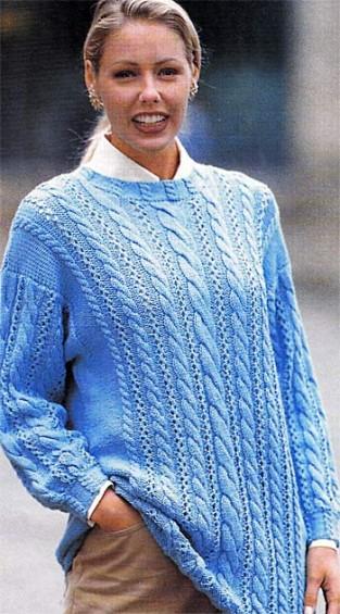 Пуловер с косами бирюзового  цвета