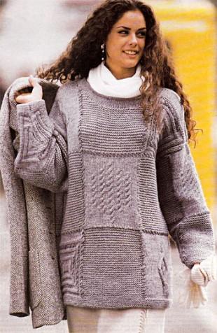 Серый пуловер в стиле пэчворк