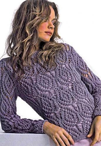 Вяжем тонкий ажурный пуловер