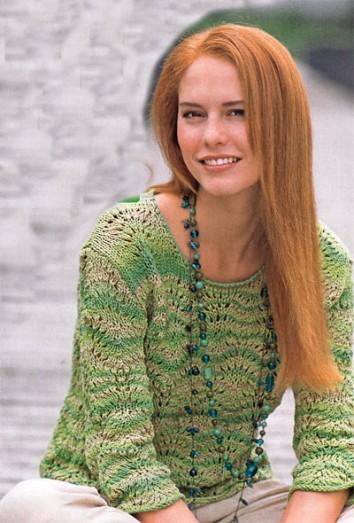 Меланжевый зеленый ажурный пуловер