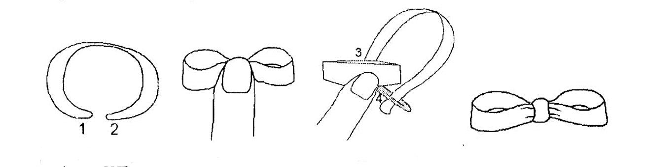 Вышивка лентами - бант