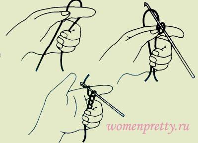 Вязание воздушной петлей крючком